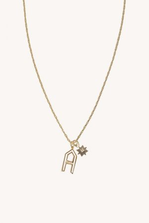 Rebecca Minkoff A Cut-out Initial Necklace Gold | Womens Jewelry