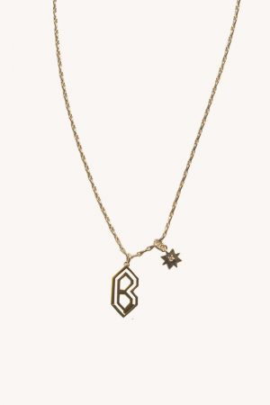 Rebecca Minkoff B Cut-out Initial Necklace Gold | Womens Jewelry