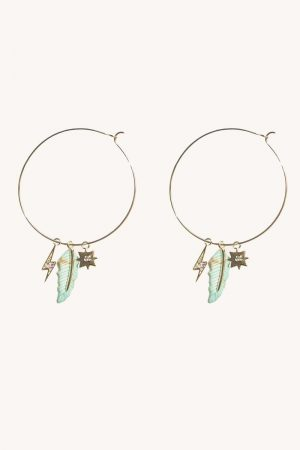 Rebecca Minkoff Charm Cluster Hoop Gold/Turquoise | Womens Jewelry
