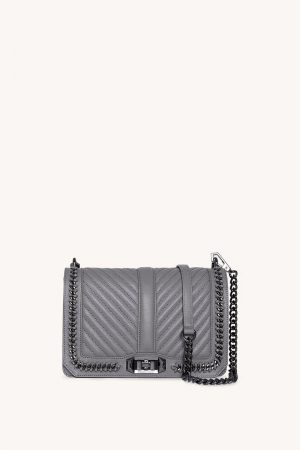 Rebecca Minkoff Chevron Quilted Small Love Crossbody With Chain Steel   Womens Crossbody Bags