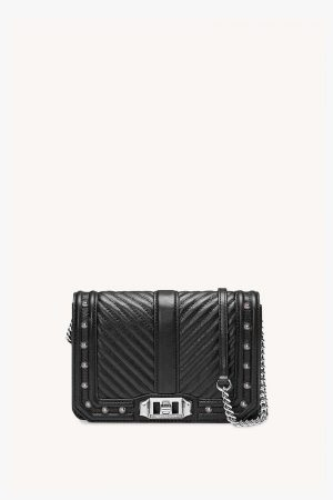 Rebecca Minkoff Chevron Quilted Small Love Crossbody With Studs Black   Womens Crossbody Bags