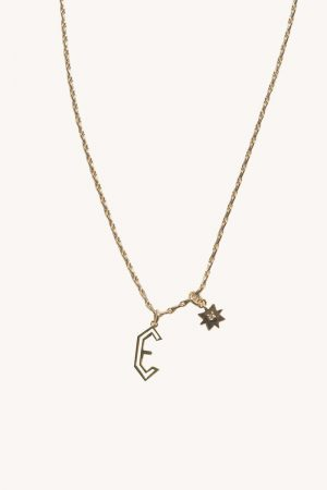 Rebecca Minkoff E Cut-out Initial Necklace Gold | Womens Jewelry
