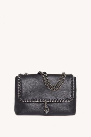 Rebecca Minkoff Edie Flap Shoulder Bag With Woven Chain Black | Womens Shoulder Bags