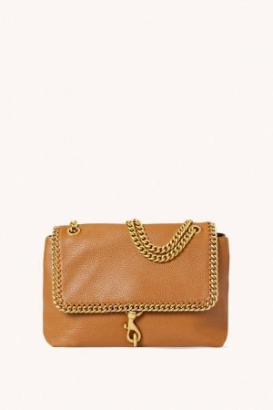 Rebecca Minkoff Edie Flap Shoulder Bag With Woven Chain Caramello | Womens Shoulder Bags