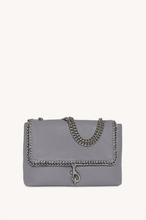 Rebecca Minkoff Edie Flap Shoulder Bag With Woven Chain Steel | Womens Shoulder Bags