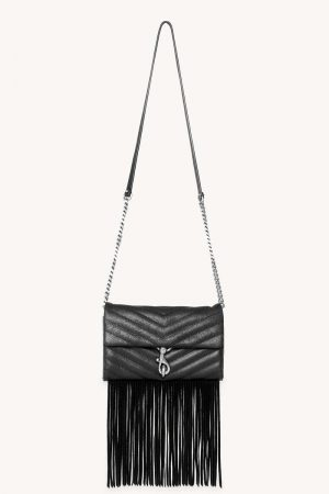 Rebecca Minkoff Edie Wallet On Chain With Fringe Black | Womens Wallets
