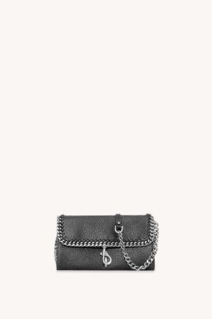 Rebecca Minkoff Edie Wallet On Chain With Woven Chain Black | Womens Wallets