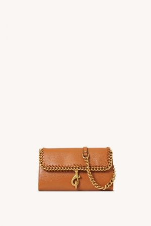 Rebecca Minkoff Edie Wallet On Chain With Woven Chain Caramello | Womens Wallets