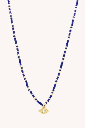 Rebecca Minkoff Evil Eye Seed Bead Necklace Gold/Blue | Womens Jewelry