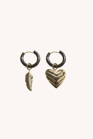 Rebecca Minkoff Feather & Quilted Heart Mismatched Huggie Hoops Gold | Womens Jewelry