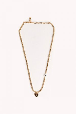 Rebecca Minkoff Gold Beaded Necklace With Studded Heart & Evil Eye Gold Aquarius | Womens Jewelry