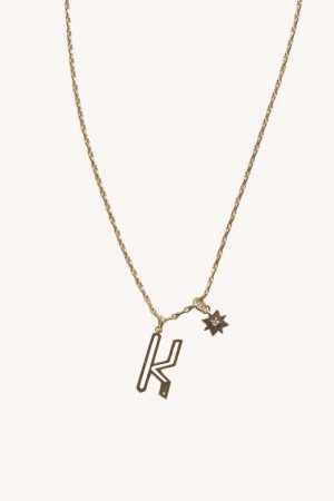 Rebecca Minkoff K Cut-out Initial Necklace Gold | Womens Jewelry
