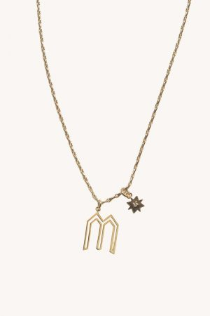 Rebecca Minkoff M Cut-out Initial Necklace Gold | Womens Jewelry