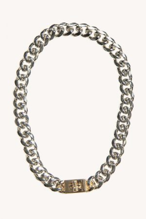 Rebecca Minkoff Padlock Curb Chain Collar Necklace Gold | Womens Jewelry