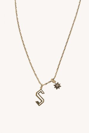 Rebecca Minkoff S Cut-out Initial Necklace Gold | Womens Jewelry
