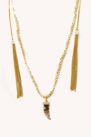 Rebecca Minkoff Shark Tooth Slider Necklace Gold/White | Womens Jewelry
