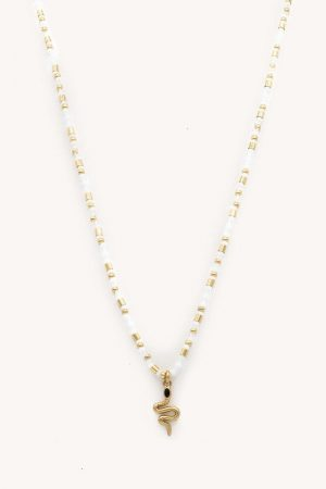 Rebecca Minkoff Snake Seed Bead Necklace Gold/White | Womens Jewelry
