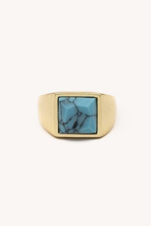 Rebecca Minkoff Square Cocktail Ring Gold/Pearl | Womens Jewelry