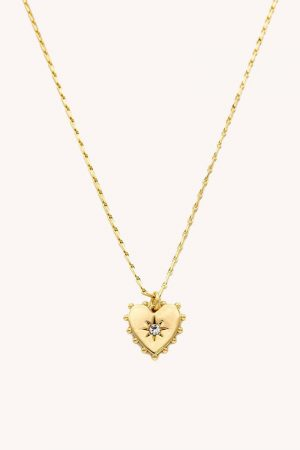 Rebecca Minkoff Studded Heart Necklace Gold Crystal | Womens Jewelry