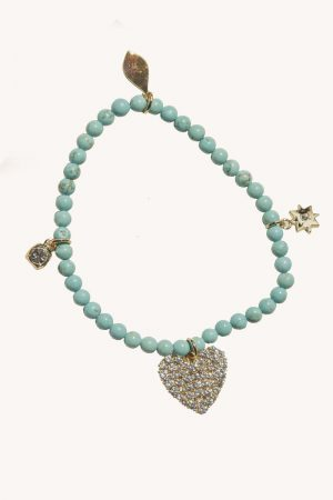 Rebecca Minkoff Turquoise Drop Beaded Stretch Bracelet Gold/Turquoise | Womens Jewelry