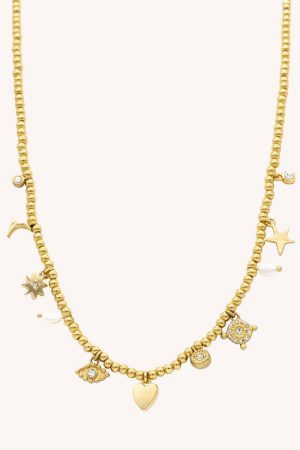Rebecca Minkoff Celestial, Hearts, & Crystal Charm Beaded Necklace Gold | Womens Jewelry