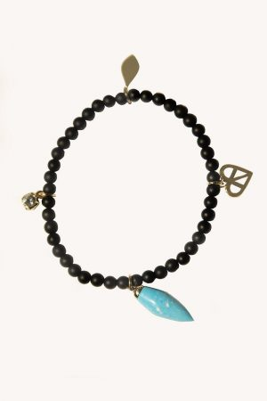 Rebecca Minkoff Pave Heart Beaded Stretch Bracelet Gold/Turquoise | Womens Jewelry